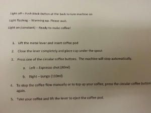 One of our friends lent us his coffee machine. He even printed out a simple how to (in both English and Vietnamese) and laminated it for us.