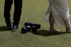 Lawn bowls at a wedding