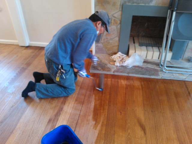 Applying Livos sealer to prepped floors
