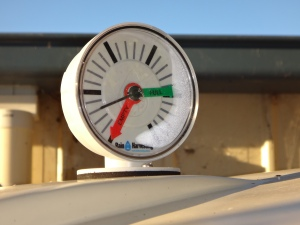Gauge on water tank